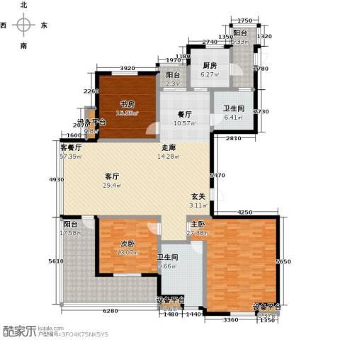 高新名门3室1厅2卫1厨184.00㎡户型图