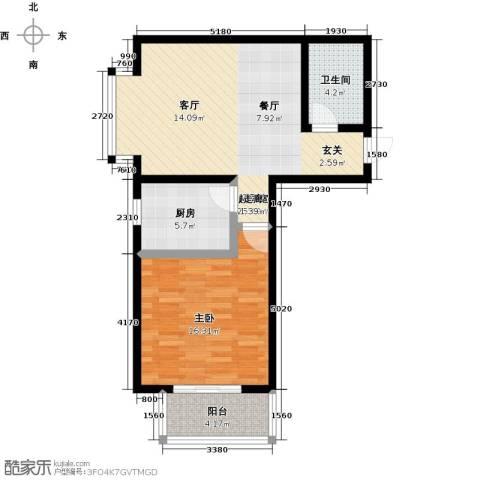 阳光绿城1室0厅1卫1厨65.00㎡户型图