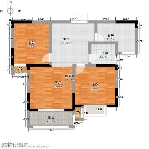世纪绅城2室0厅1卫1厨79.00㎡户型图