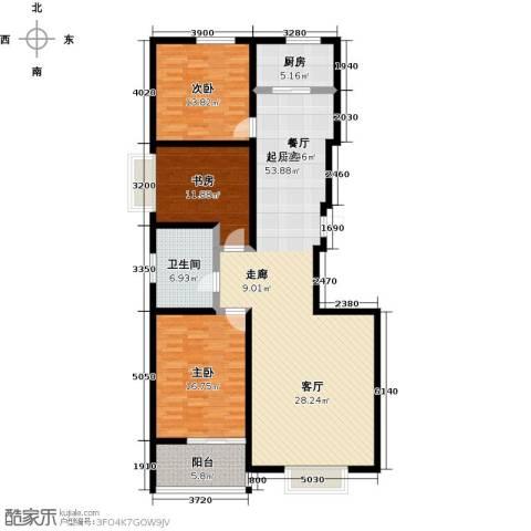 橙市阳光3室0厅1卫1厨129.00㎡户型图