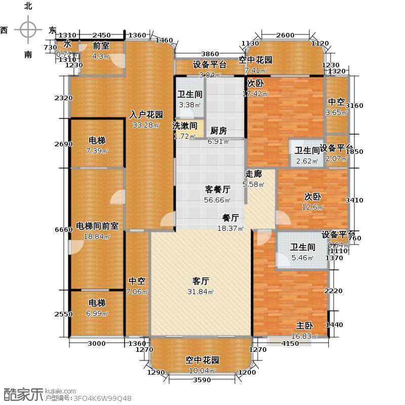 金信凤凰花园1栋2梯奇数层01户型3室1厅3卫1厨