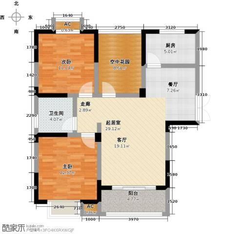 世纪绅城2室0厅1卫1厨87.00㎡户型图