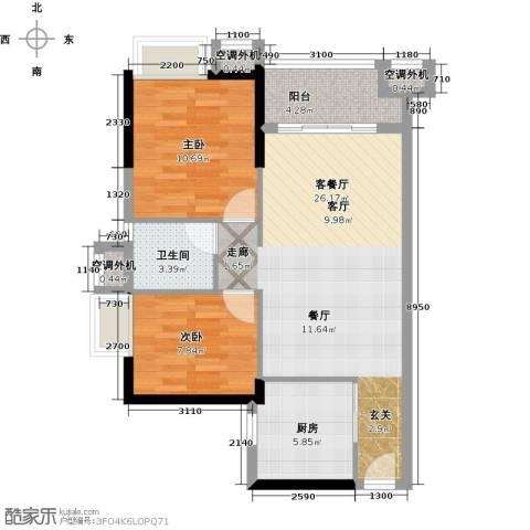 万科金悦华庭2室1厅1卫1厨76.00㎡户型图