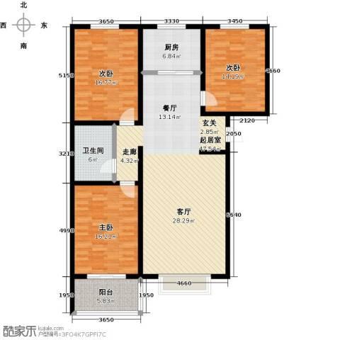 橙市阳光3室0厅1卫1厨128.00㎡户型图