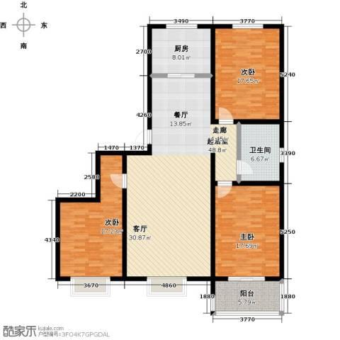 橙市阳光3室0厅1卫1厨130.00㎡户型图