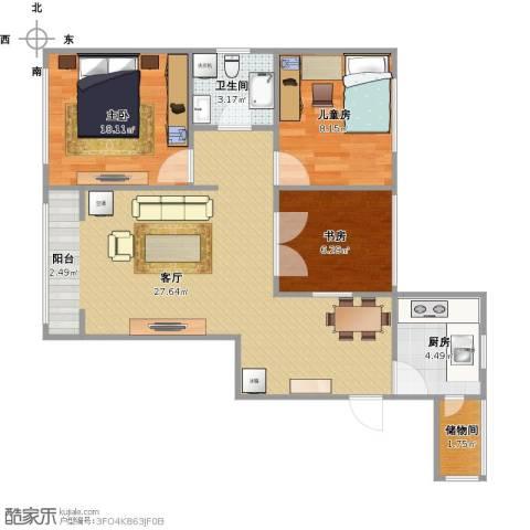 霞飞路63里弄3室1厅1卫1厨84.00㎡户型图
