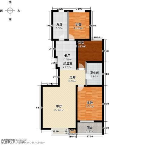 橙市阳光3室0厅1卫1厨121.00㎡户型图