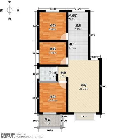 橙市阳光3室0厅1卫0厨105.00㎡户型图
