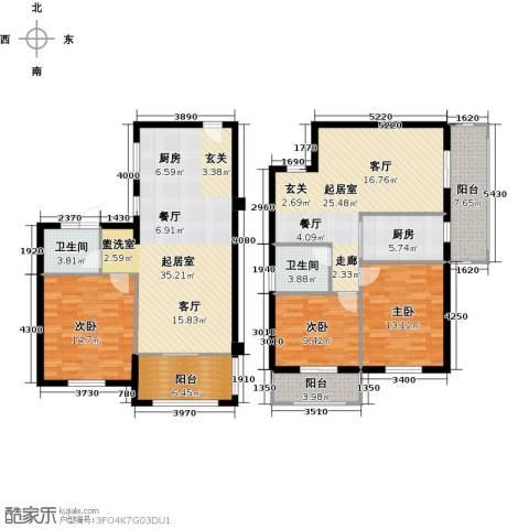 翠城华庭3室0厅2卫1厨180.00㎡户型图