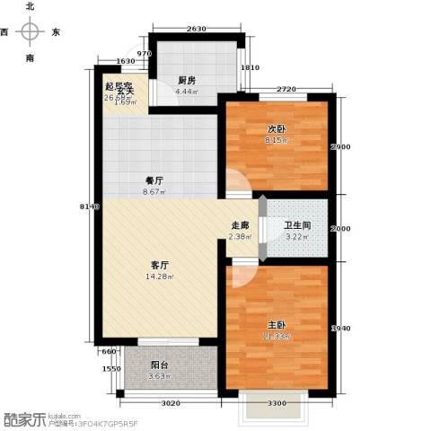 橙市阳光2室0厅1卫1厨85.00㎡户型图