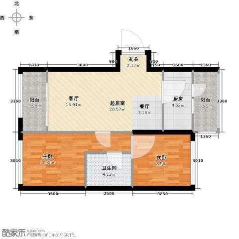 公元天下2室0厅1卫1厨81.00㎡户型图