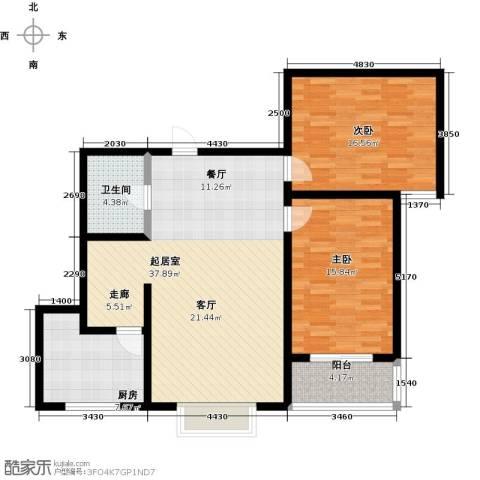 橙市阳光2室0厅1卫1厨98.00㎡户型图