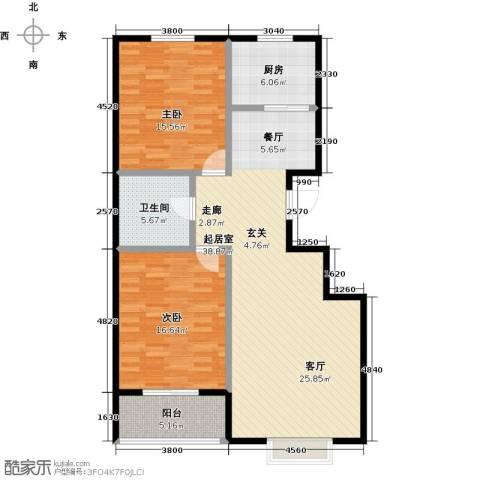 西湖庄园2室0厅1卫1厨97.90㎡户型图
