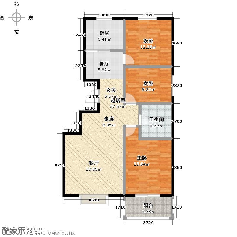 西湖庄园103.50㎡G-三室两厅一卫户型3室2厅1卫