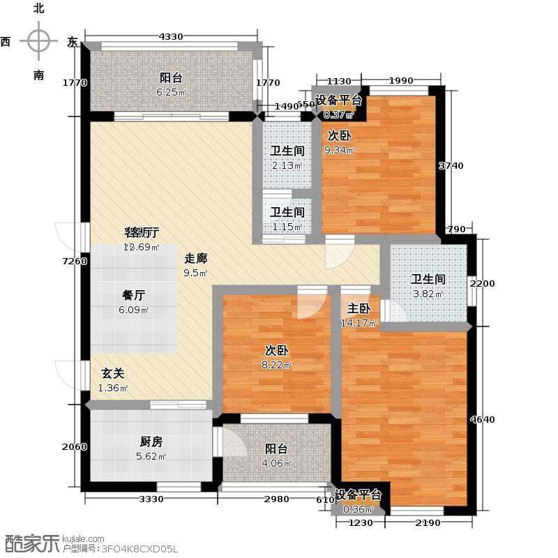 中泰名园110.39㎡4号楼03户型3室2厅2卫