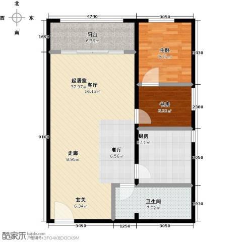 西现代城2室0厅1卫1厨84.00㎡户型图
