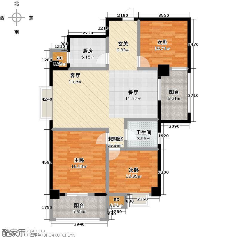 东方新天地商业广场110.18㎡三室两厅一卫户型3室2厅1卫