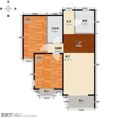 金海城2室1厅1卫1厨88.00㎡户型图