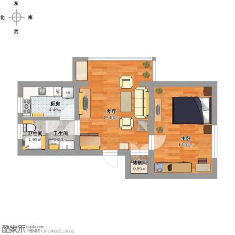 晶波坊1室1厅2卫1厨62.00㎡户型图