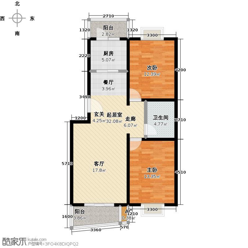 绿岛家园35号楼B两室两厅一卫户型LL