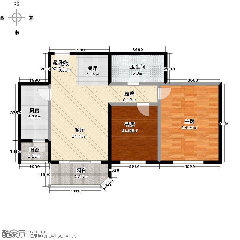 西现代城90.31㎡两室两厅一卫户型LL