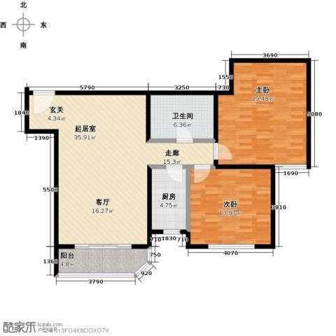 西现代城2室0厅1卫1厨96.00㎡户型图