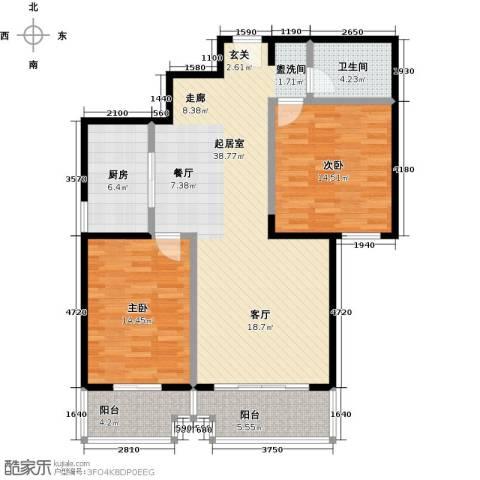 西现代城2室0厅1卫1厨100.00㎡户型图
