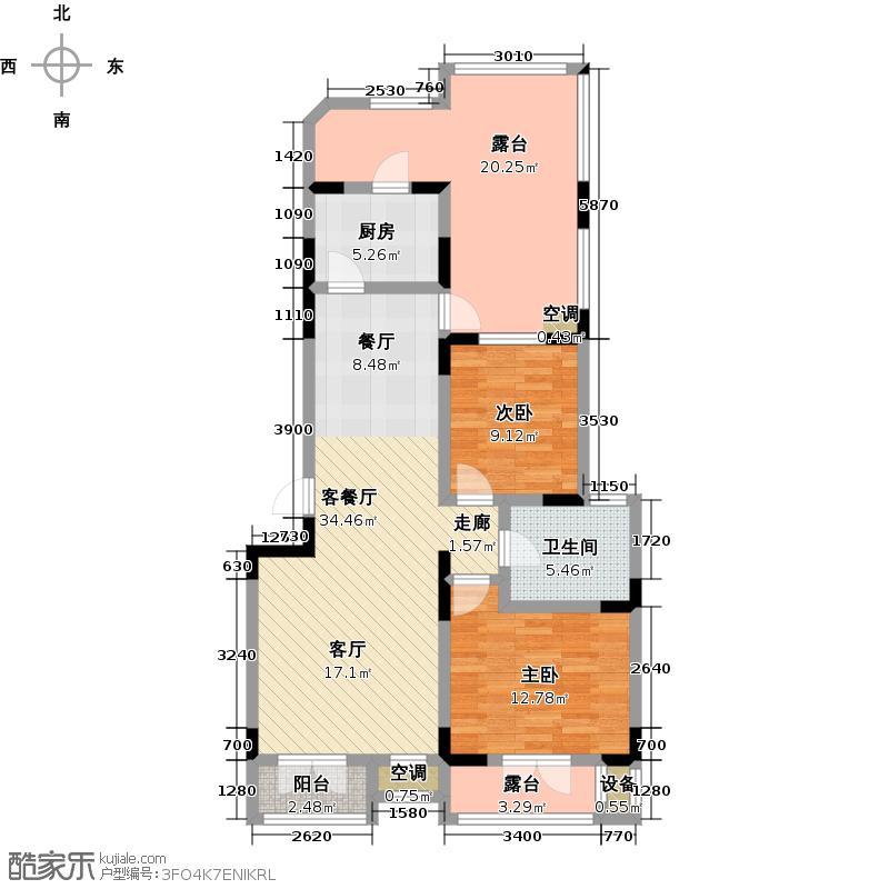 俊城橡树原J2二室一厅一卫户型