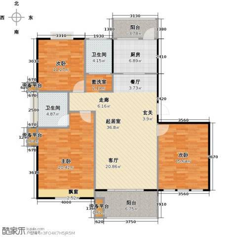 喜利达名苑3室0厅2卫1厨151.00㎡户型图