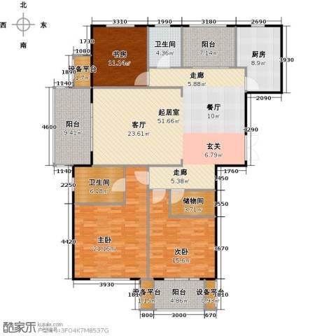 邦泰中央花城3室0厅2卫1厨159.00㎡户型图