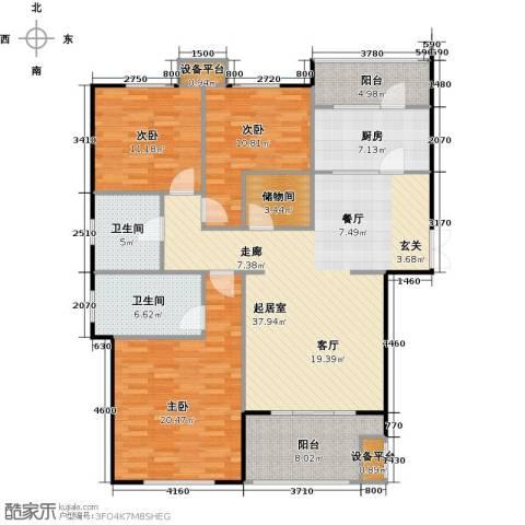 邦泰中央花城3室0厅2卫1厨127.00㎡户型图
