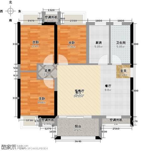 万科金悦华庭3室1厅1卫1厨89.00㎡户型图