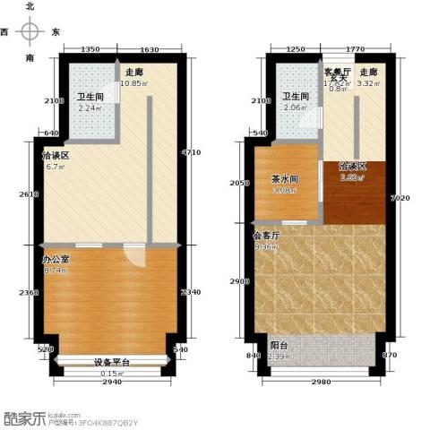 中海八里�1厅2卫0厨53.00㎡户型图