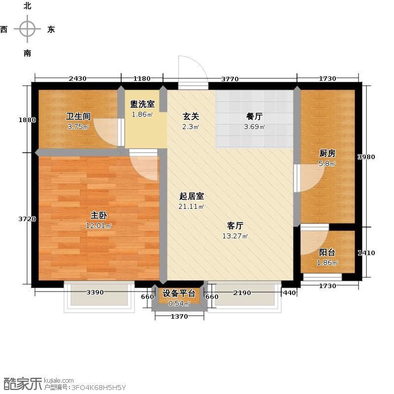 顺鑫・山语溪58.00㎡H户型 一室两厅一卫户型2室2厅1卫