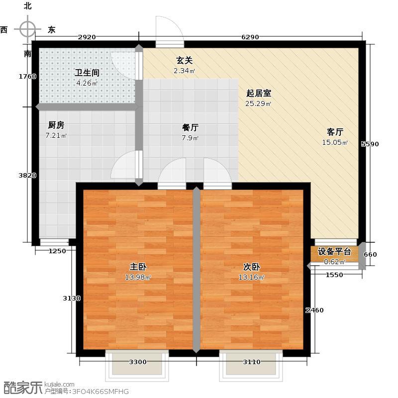 顺鑫・山语溪78.00㎡J户型 两室两厅一卫户型2室2厅1卫