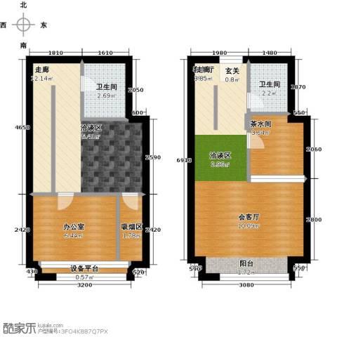 中海八里�1厅2卫0厨57.00㎡户型图