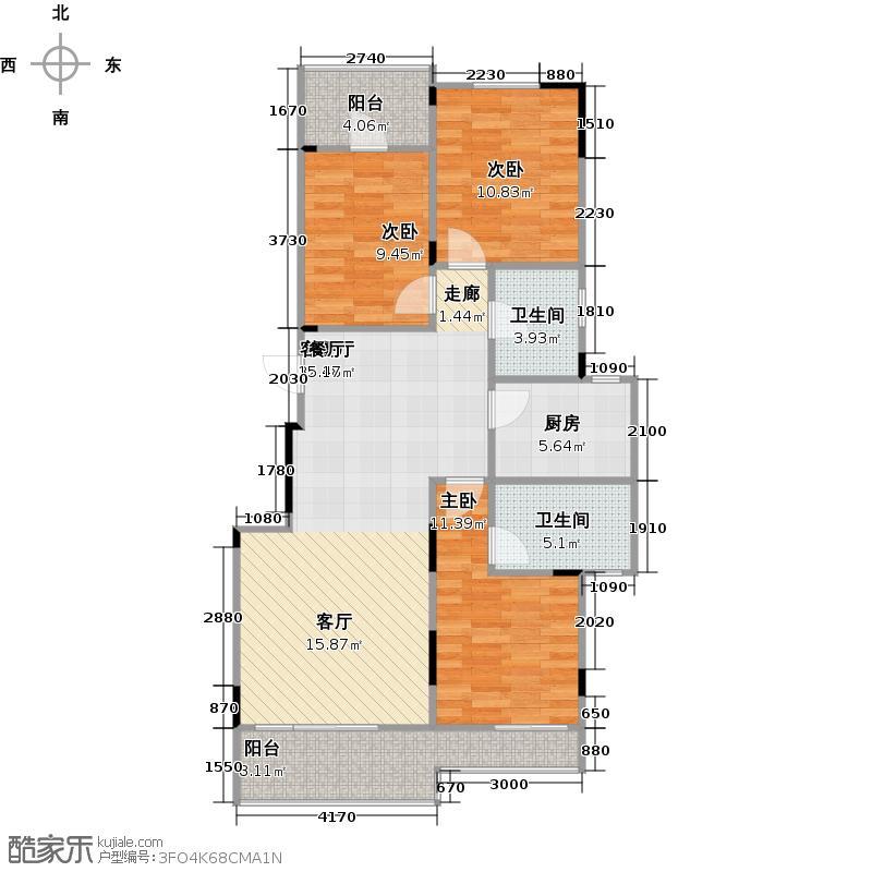 中城时代82.00㎡14#楼C-3c户型 三房两厅两卫户型3室2厅2卫