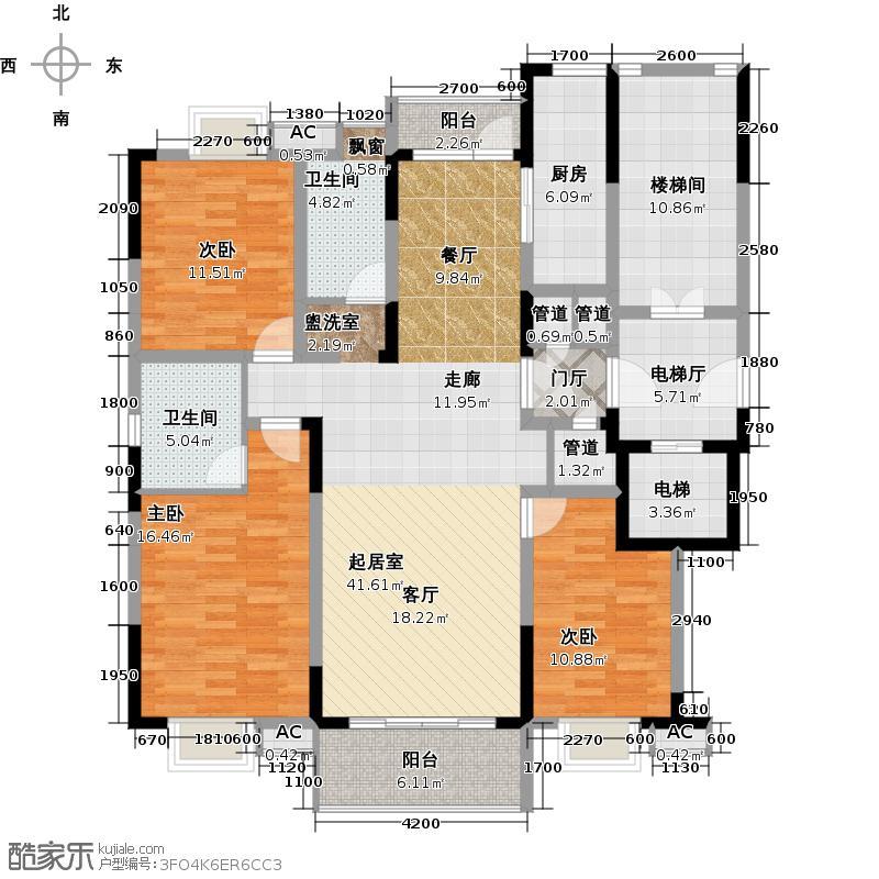 新世界阳光花园四室两厅二卫户型
