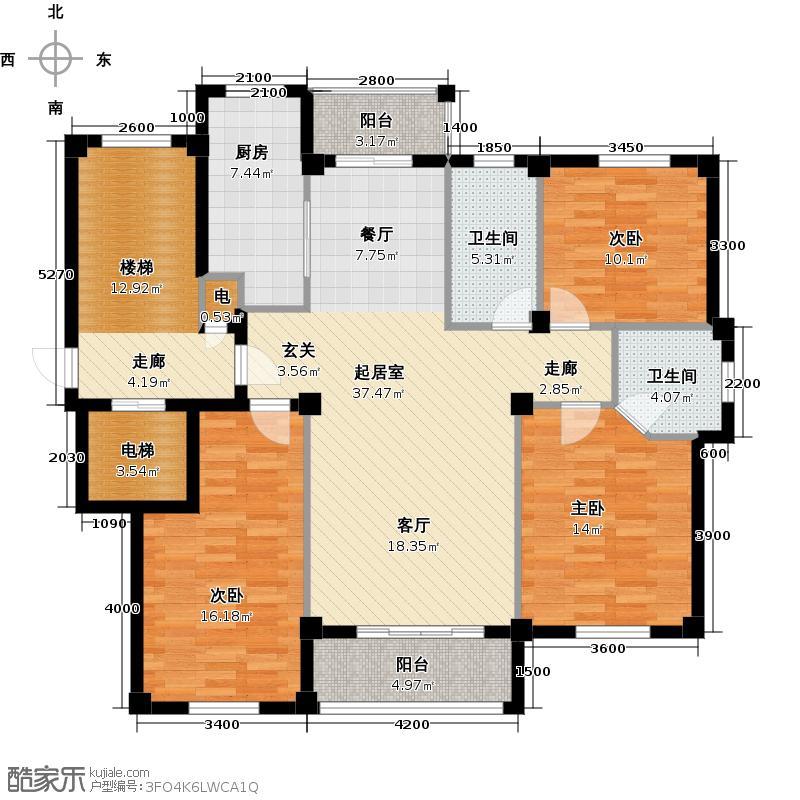 远诚公馆129.29㎡1#01户型 三室二厅二卫户型3室2厅2卫