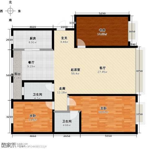 上国佳苑3室0厅2卫1厨131.00㎡户型图