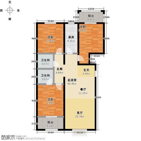 凯嘉时代华城3室0厅2卫1厨117.00㎡户型图