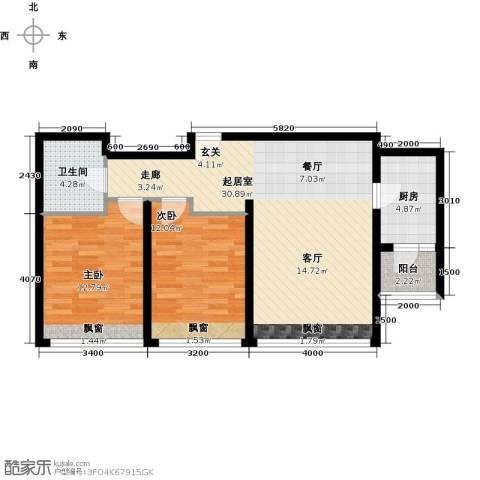 景瑞阳光尚城2室0厅1卫1厨88.00㎡户型图