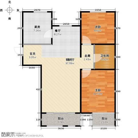 金海城2室1厅1卫1厨91.00㎡户型图