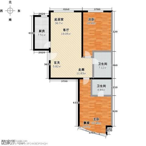 西现代城2室0厅2卫1厨105.00㎡户型图