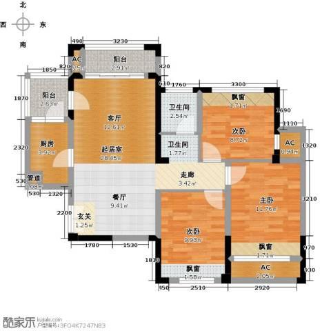 光谷8号3室0厅1卫1厨95.00㎡户型图