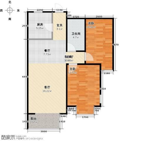 金海城2室1厅1卫1厨89.00㎡户型图