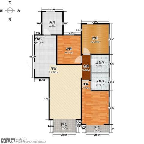 金海城3室1厅2卫1厨116.00㎡户型图