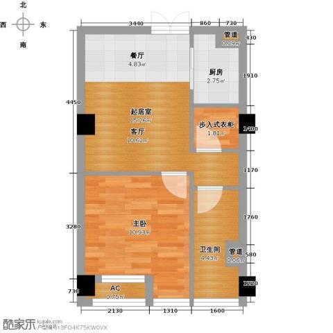 中城国际广场1室0厅1卫1厨53.00㎡户型图