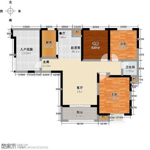 君河湾3室0厅1卫1厨143.00㎡户型图