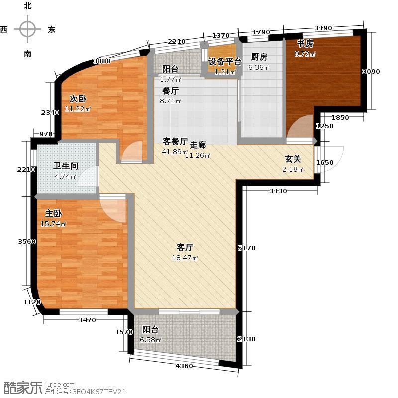 嘉凯城时代城二期东方龙域112.58㎡C2户型3室2厅1卫